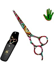 """BeautyTrack 6"""" Left Handed Hairdressing Scissors Barber Salon Shears + Scissors Pouch, Limited Edition. Beautiful Design Ideal for Gift"""
