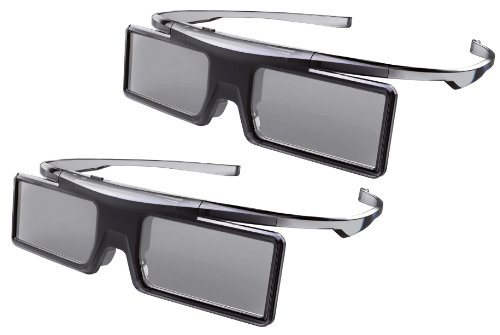 Universal GX21AB Lot de 2 paires de lunettes 3D à obturation LC pour téléviseur 3D Thomson et TCL Fonctionnement à piles Mode jeux Noir