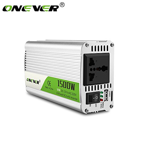 ONEVER 1500W / 2800W (Peak) Auto-Energien-Inverter-Konverter DC 12V bis 220V AC Konverter Stromversorgung ?nderte Sinus-Wellen-Energien mit USB-Anschluss / Universal Plug / Intelligent Fan 2800w Inverter
