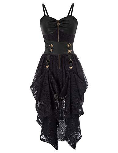 SCARLET DARKNESS Damen Slip Kleid Gothic Victorian Faux Leather Lace High-Low Saum Halloween XL Schwarz - Victorian Lace Kleid