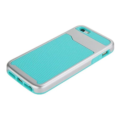 iPhone SE hülle,iPhone 5 hülle,Lantier [Anti Skid][Stoßdämpfung][harte PC+Soft Silikon][Thin Slim Fit] Wellenmuster Dual Layer Hybrid Rüstung Abdeckung für Apple iPhone 5/5S/SE Schwarz Wave Pattern Silver + Mint Blue