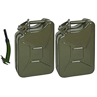 2xOpticare 10 Litre Green Metal Jerry Can With Flexible Spout (UN Approved, GS/TUV Certification)