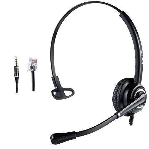 Telefon Headset RJ9 wired Call Center Kopfhörer mit Noise Cancelling Mikrofon mit zwei Klinke RJ11 und 3.5mm für Telefon Avaya Nortel und iPhone Samsung LG HTC Blackberry Huawei ZTE Plantronics-adapter Mic