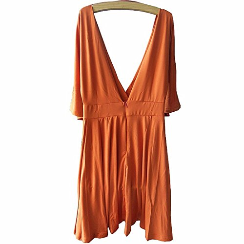 QIYUN.Z Orange Halben Hülse Tiefem V-Ausschnitt Rückenfreie Lose Elegant Tunika Clubwear Kleid Damen Blusen Tuniken T-Shirts Tops Shirt Kleider Orange