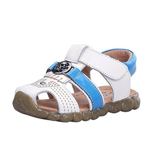 CHENGYANG Sandales Bout Fermé Semelles Souples - Confort Chaussures Bébé Marche Bébé Garçon Blanc Bleu