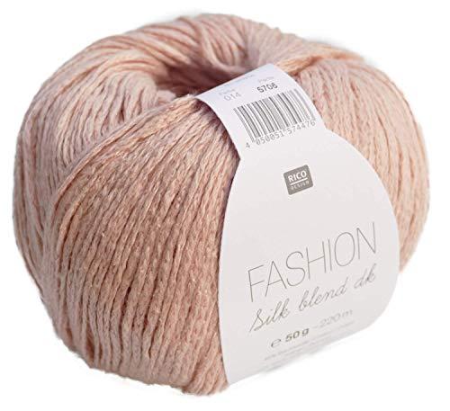 Rico Fashion Silk blend dk Fb. 014 Puder, edles Garn aus Seide & Baumwolle zum Stricken & Häkeln, Wolle mit Seide zum Stricken -
