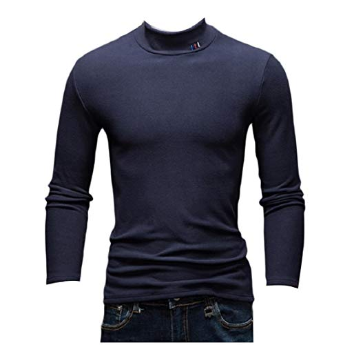 CuteRose Men Casual Jammer Tops Slim Fleece Mock Neck Thicken Sweater Navy Blue M -