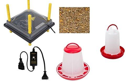 Kükenwärmeplatte 25 x 25 cm Set: 6 mit Tränke + Futtersilo + 3 kg Kükenstarter + Leistungsregler + Schutzabdeckung