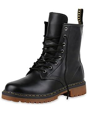 napoli-fashion Damen Stiefeletten Worker Boots Lack Profilsohle Boots Schuhe Jennika