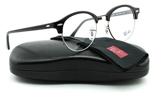 Ray-Ban RX4246V ClubRound Unisex Eyeglasses (Shiny Black Frame 2000, 49)
