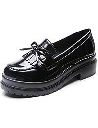 Las Mujeres De Charol Oxfords Zapatos Punta Redonda Costura SóLida Ata para Arriba Medio TacóN Pisos