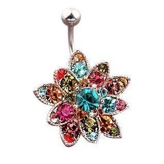 Gekko Body Jewellery - Piercing per ombelico in acciaio chirurgico, a forma di fiore con Swarovski. Calibro 14 (1,6 mm)