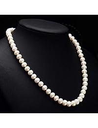 9c05cd638bef50 Lnyy Perla Collana Rotonda di Patate Perle clavicola Argento 925 Catena  Naturale Perla Collana Mamma Invia