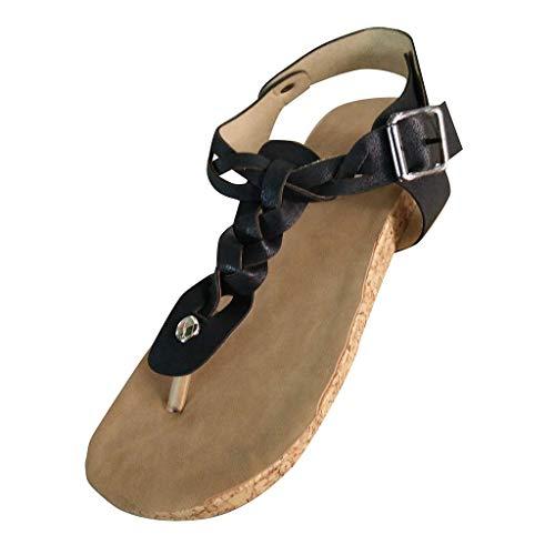 Damen Sandalen Flach Fußbett Schuhe Pantoletten Elegant Zehentrenner Plateauschuhe Bequeme Kork Flip Flops Sommerschuhe (EU:41, Schwarz)