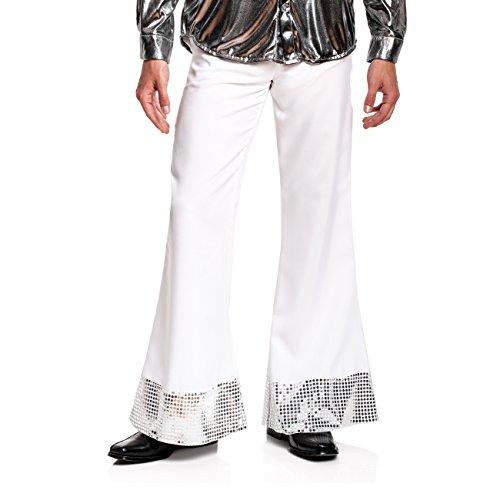 Kostümplanet® Disco Hose weiß Herren Disko Kostüm 70er Jahre weiße Schlaghose mit Pailletten Größe (Disco Kostüm Hose)
