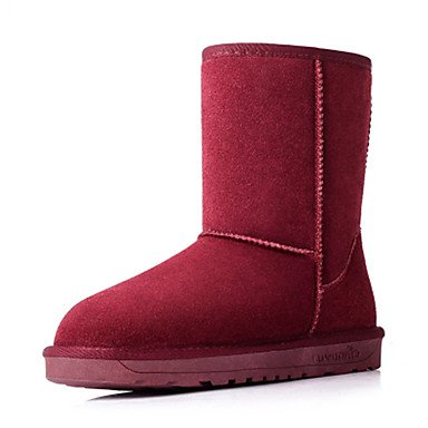 Stivali delle donne Inverno Mary Jane PU Cuoio casuale Wedge Heel Feather Ruby