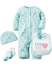 Carter's - Ensemble 4 pièces bébé - bébé fille et garçon - combinaison 2-en-1/bonnet/chaussettes/bavoir - coton
