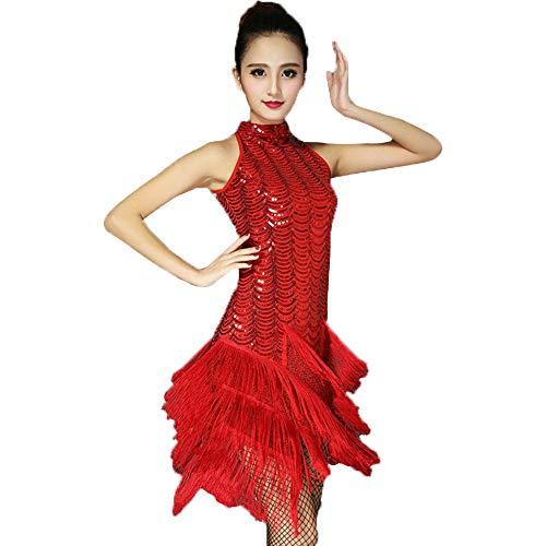 Kostüm Strictly Ballroom - GOWE Latin Kleid - ärmellose Sexy Mode Pailletten Quaste Cocktail Latin Party Kleid Kostüm Flapper Kleid 20er Kleider für Frauen, Rot/L