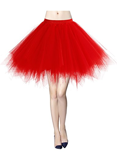 Gardenwed Tutu Damenrock Tüllrock Reifrock 50S Kurz Ballet Tanzkleid tütü Unterrock Rockabilly Petticoat für Karneval Partykleid Red - 70's Kostüm Selbstgemacht