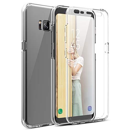 Winhoo per Cover Samsung Galaxy S8 Custodia 360 Gradi Full Body Rigida Protettiva Protezione per Schermo Morbida Silicone TPU Ai Graffi Antiurto Protezione Posteriore - Trasparente