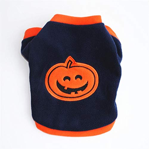 HibiscusElla Autumn Winter Dog Clothes Thick Warm Coat Cotton Fabric Jacket Pullover Halloween Pumpkin Style Fashion Pet Dog Outfit (Fashion Halloween Outfits)