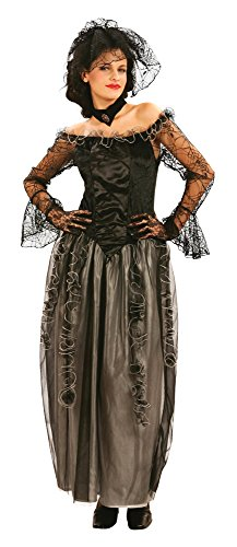 Bristol Novelty ac343Widow Lange Kleid Kostüm, UK 10-14 (Schwarze Witwe Kostüm Uk)