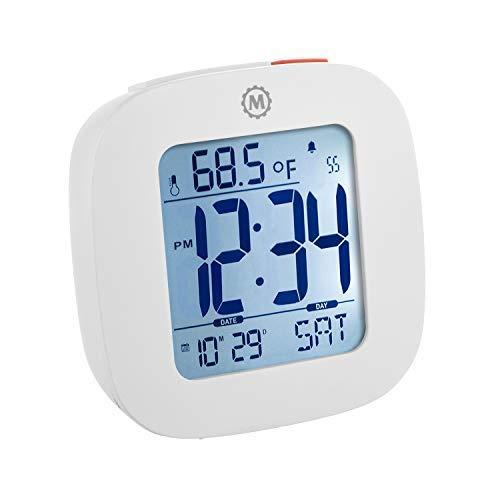 Marathon cl030058wh Kompakte Reise Wecker mit Schlummerfunktion, Kalender, Temperatur und Datum-Weiß-Inklusive Batterien