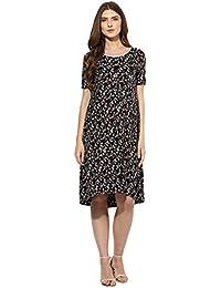 Mine4nine Women's Black floral printed maternity dress