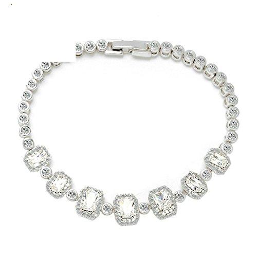 b7959c709169 AieniD Joyas de Moda Pulsera Mujer Joven Blanco Cz Rectángulo 17Cm Brazalete  de Oro para las