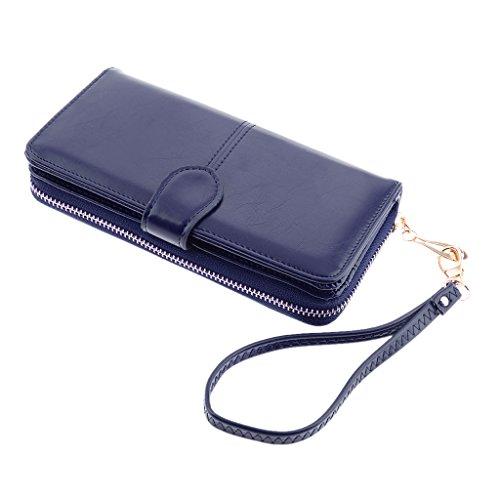 MagiDeal Damen Geldbörsen Brieftasche Portemonnaie Tasche mit Reißverschluss - Blau, 190 * 105 * 35mm (Brieftasche Mit Blaue Reißverschluss)