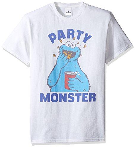 Sesamstraße Herren T-Shirt Krümelmonster Party - Weiß - 5X-Groß (T-shirts Street Sesame Für Erwachsene)