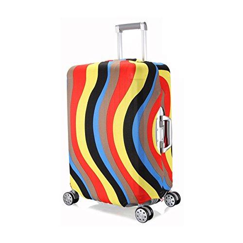 OneSky-UK Cubierta de equipaje, duradero protector lavable plegable, el tamaño del protector de la maleta se ajusta 18-28 pulgadas. (Curva colorida, M(22''))