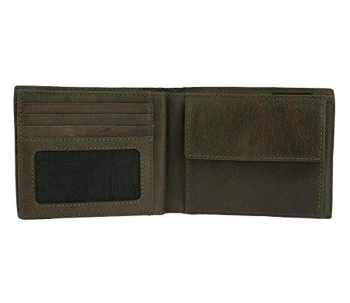 Strellson Jefferson BillFold H8 4010001301 Herren Geldbörsen 12x10x1 cm (B x H x T), Braun (dark brown 702) Grün (green 600)