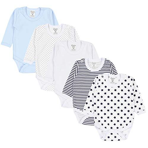 TupTam Jungen Baby Body Langarm Unifarben 5er Pack, Farbe: Farbenmix 3, Größe: 80