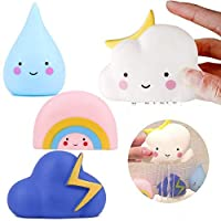 Cratone Bath Toys for Toddlers Cute Cartoon Soft Watering Bath Toys 4 Pcs Rain Cloud Rainbow Thunder Cloud