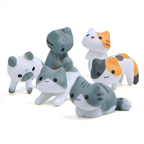 XNFIVE 6 Stück Miniatur Katze Verschiedene Mikro Kitty Landschaft Ornaments Dekoration Schön Glückliche Katze DIY Figuren Miniature Cats für Fee Garten Puppenhaus Blumentopf Zuhause Handwerk Deko -