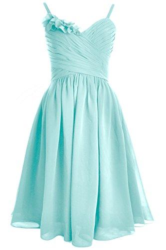 MACloth Spaghetti Straps Short Bridesmaid Dress Wedding Party Formal Gown Aqua