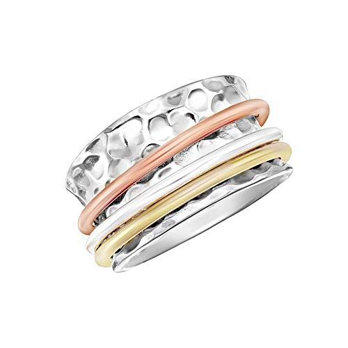 "Energy Stone \""GELASSENHEIT\"" zugespitzter dreifarbiger Sterlingsilber Drehring (Style# UK12) (54 (17.2))"