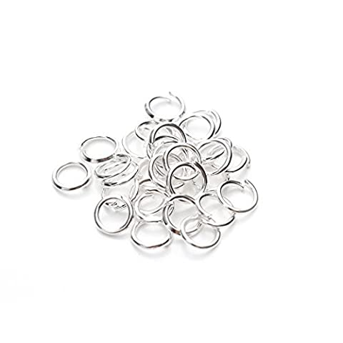 Sauvoo Beads 200pcs/lot 6mm Open Jump Rings Gold/Silver Plated Split Rings Link Loops for Necklace Bracelet DIY Jewellery Making Findings (Silver Plated)