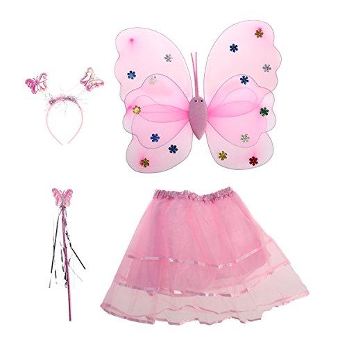 Mädchen Fee Kostüme mit Flügel Stirnband Stab Tutu Rock Set (Pink) ()
