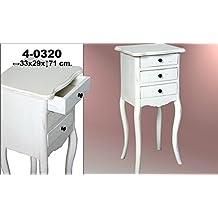 DonRegaloWeb - Mesa telefonera de madera teca con 3 cajones en color blanco decape