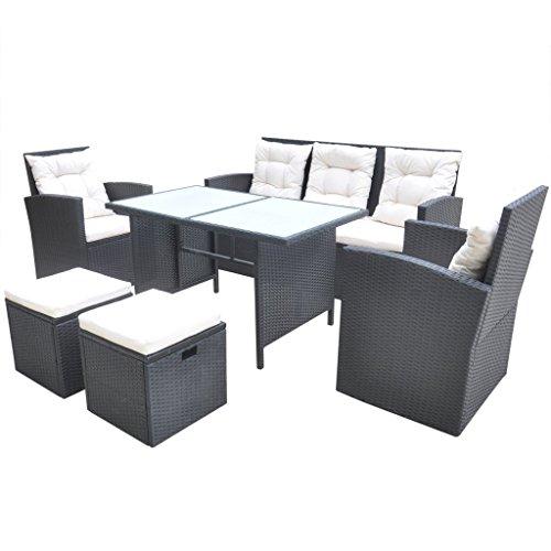 Preisvergleich Produktbild vidaXL 18tlg. Garten Set Poly Rattan Essgruppe Sitzgruppe Lounge Gartengarnitur Schwarz