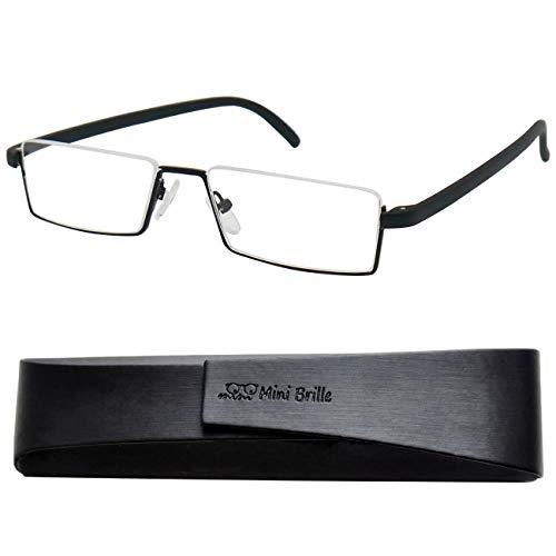 Flex Brille - Leichte & Flexible Halbbrille Lesebrille | Edelstahl Rahmen (Schwarz) | GRATIS Etui | Lesehilfe für Damen und Herren | +1.5 Dioptrien