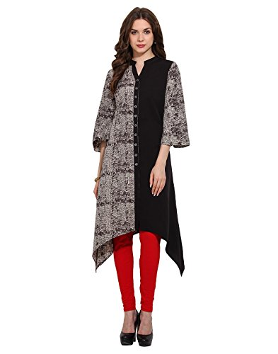 Multi Printed Sequin Button Placket Kurti Large