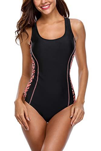 Charmo Damen Sports Racing Einteiler Bademode Training Athletic Badeanzug Kontrastfarbe One Piece Schwimmanzug M (Einteiler Badeanzug Athletic)