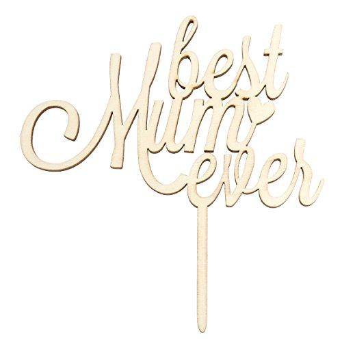 BESTOYARD Best Mom Ever Muttertag Kuchen Topper Holz Kuchen Topper Für Mother 's Day Birthday Party Supplies