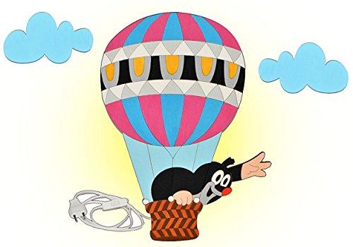 Wandlampe Holz - der kleine Maulwurf - Lampe mit Schalter für Kinder - Kinderzimmer Kinderlampe Wandleuchte Heißluftballon