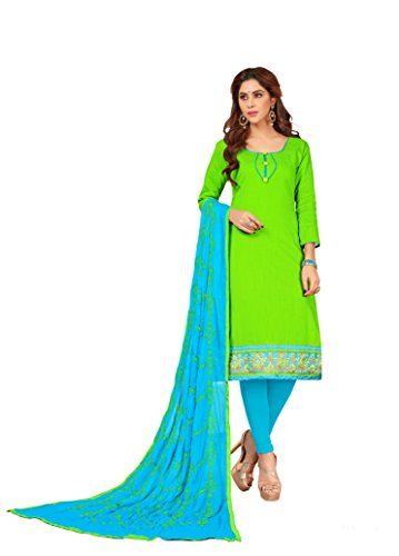 Priyavadhu Women's Slub Cotton straight Unstitched Salwar kameez Dress material (BLFNC04_Light Green_Free...