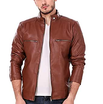 Leather Retail Men's Faux Leather Solid Biker Jacket (Tan Brown, XS)