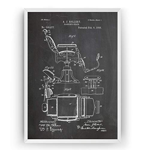Barbers Chair Patent Poster - Restroom Print Shaving Gift Fathers Dad Vintage Men Beard Hipster Moustache Barbershop Salon Male Grooming Hairdresser Blueprint Wall Art Decor - Frame Not Included - Gillette-vintage